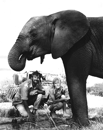 Bill Tavers Virginia McKenna and Pole Pole during the filming of An Elephant Called Slowly c BFF