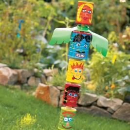 Tin Can Totem Pole 267x267 Repurposing Tin Cans